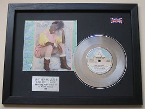 "WHITNEY HOUSTON - How Will I Know 7"" Platinum Disc with Cover"